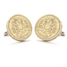 British Crest Cufflinks Cuff Links Coin Britain England UK Royal Money Pound Finance Trade