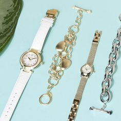 Layer bracelets and watches.