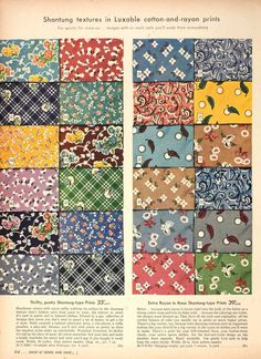 1944 spring fabric swatches #1940s