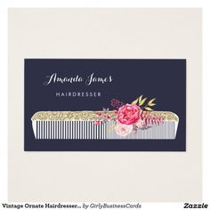 Vintage Ornate Hairdresser Comb With Pink Floral...Make the right impression & impress your customers! Get professional and creative business cards through Zazzle. Visit the link to save 15% on 2 packs OR find out if there are any promotions to help save! >>