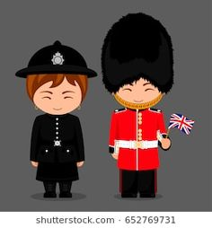 Illustration of British people. Police woman and royal guard with a flag. Man and woman in traditional costume. Travel to United Kingdom. Anastasia, Carnival Legend, British Costume, Pioneer Gifts, Costumes Around The World, British People, Royal Guard, Thinking Day, Flat Illustration