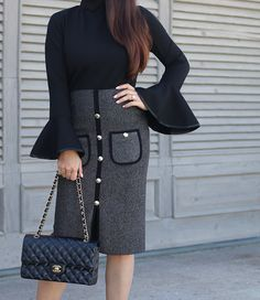 chanel like tweed skirt bell sleeve top chanel medium flap holiday part work outfit, fall outfit idea, petite fashion blog - click the photo for outfit details!