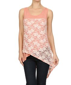 Another great find on #zulily! Pink Lace Crisscross Tank by Le Lis Collection #zulilyfinds