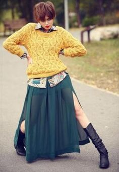 This Skirt with the splits would work for belly dancing........Gorgeous long skirt - dark green