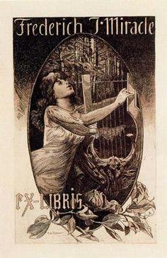 """Alexandre de Riquer (1856 -1920). """"Ex-libris Frederich J. Miracle, 1911"""". Aiguafort. 22.5 x 13.9 cm."""