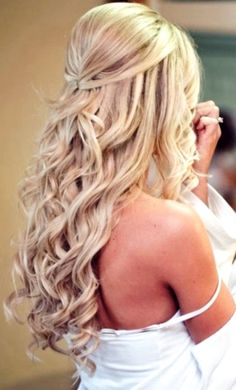 long curled wedding hair - love the tiny section pinned back ~ we ❤️ this moncheribridals.com
