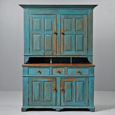 Blue-painted Two-piece Step-back Cupboard - Current price: $500