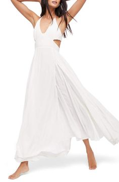 Endless Summer by Free People Lillie Maxi Dress, Main, color, White Maxi Dress With Slit, White Maxi Dresses, Summer Dresses, Buy Wedding Dress, Wedding Dresses, Reception Dresses, People Cutout, Cute White Dress, Dress Cuts