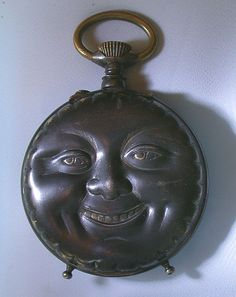 Man in the Moon Pocket Watch circa. I like crescent moon faces better, but this one is coooool. Old Clocks, Antique Clocks, Art Nouveau, Moon Face, Sun Moon Stars, Deco Originale, Paper Moon, Pocket Watch Antique, Antique Watches