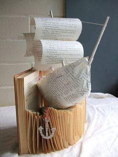 boat book sculpture