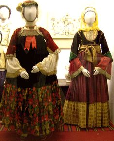 Traditional costumes from Skopelos (left) and Skiathos. Museum of Greek Folk Art, Athens [http://www.melt.gr/en/collection/the-collection/costumes-components]