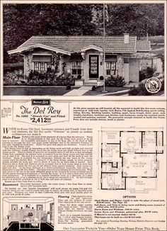 1923 Sears Modern Home   Del Rey. I Like The Idea Of Taking The Dining ·  Vintage House PlansVintage HousesHouse ...