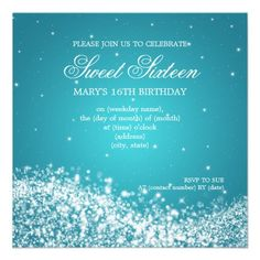 Sweet Sixteen #Party #Sparkling Wave Blue Personalized #Invite   $1.70