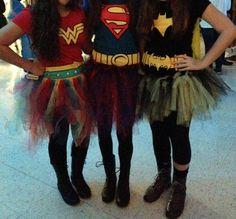 Superheroes, Wonder Women, Superman, and Batman Halloween costumes with tutus!