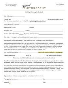 Merveilleux Wedding Photography Contract | Kevin Jones Photography Contract