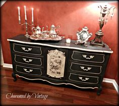 Painted Furniture : Vintage French Toile Sideboard Buffet - Chest - Dresser :: by CharmedByVintage Diy Furniture Projects, Upcycled Furniture, Furniture Making, Furniture Makeover, Vintage Furniture, Furniture Decor, Black Painted Furniture, Chalk Paint Furniture, Sideboard Buffet