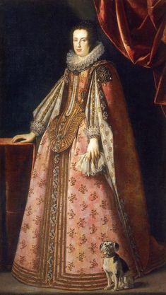 Claudia de' Medici, Archduchess of Austria-Tyrol cyrca 1630 Claudia's dress has a basque bodice that masks the top of her skirt, long, draping, hanging sleeves, and a column of aglets or jewels running down the center of her skirt matched by a similar column running down her bodice.
