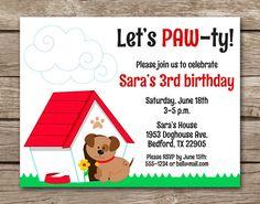 Puppy Party Invitation Dog Doghouse Birthday Bi