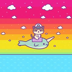 Admiral Whiskers riding a narwhal Make Your Own Animation, R Gifs, Animated Gif, Hello Kitty, Snoopy, Comics, Drawings, Computer File, Funny