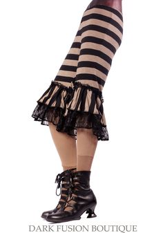Capris, Stripes and Ruffles, Beige and Black, Bloomers, Steam Punk, Tribal, Bellydance, Exotic, Dance. $53.00, via Etsy.