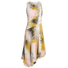 Diane Von Furstenberg Klarra dress ($421) found on Polyvore featuring women's fashion, dresses, pastel print dress, abstract dress, pink print dress, asymmetrical dresses and abstract print dress
