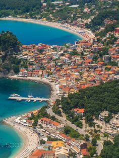 Aerial view on the village of Parga town, Epirus region, Greece by Remy Musser on Beautiful Places In The World, Places Around The World, Wonderful Places, Around The Worlds, Places To Travel, Travel Destinations, Places To Go, Greece Travel, Greece Trip