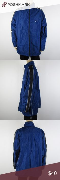 Nike Windbreaker Jacket Blue Black White Men's XXL This stunning jacket is in excellent condition! As always offers and bundles are welcome. Feel free to add one or more items to a bundle for a private discount offer!!!  Armpit to armpit is 29.5 inches across Sleeve length is 26 inches Shoulders are 23 inches across Length is 33.5 inches Nike Jackets & Coats Windbreakers