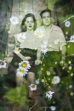 Collage Photography Lovers in 1946 Daisies Couple by TwoStoryHouse, $20.00
