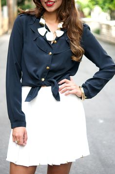 Navy, White and Gold Navy And White, About Me Blog, Posts, Blouse, Long Sleeve, Sleeves, Women, Fashion, Moda