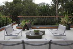 Custom Round Outdoor Patio Coffee Table Furniture on Modern Deck . Railing Design, Patio Design, Home Design, Design Ideas, Rooftop Terrace Design, Rooftop Patio, Patio Railing, Cable Railing, Outdoor Railings