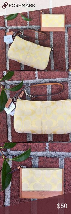 NWT Coach yellow wristlet + matching wallet NWT Coach wristlet with matching wallet. Wallet tags have been removed. Wallet has very small spot on it on the front left but it is not very noticeable at all (visible in pics). Beautiful bag! Coach Bags Clutches & Wristlets