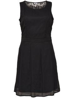 LACE DETAIL SLEEVELESS DRESS, Black