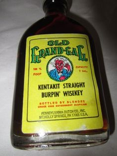 old grand-gag kentakit straight burpin' wisekey (Table Syrup) bottled by blondes honey 100% FOOF Pennsylvania Dutch Co. Inc Gag Gift