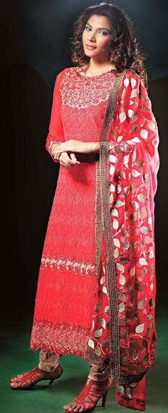 $95.24 Red Embroidery Faux Georgette Pakistani Salwar Kameez 24355
