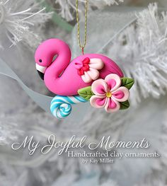 Handcrafted Polymer Clay Flamingo Ornament by Kay Miller on Etsy