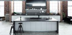 Quartz NY Collection Dark Concrete by Compac Kitchen Worktop, Kitchen Inspirations, Black Kitchens, Interior Decorating, Kitchen Flooring, Home, New York Loft, Fabulous Kitchens, Home Renovation