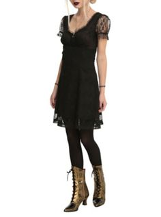Royal Bones By Tripp Black Lace Sleeve Dress  I WANT TO DRESS LIKE THIS ALL THE TIME!!!