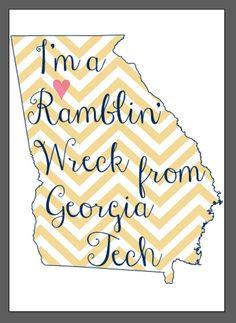 Georgia Tech Digital Print by CollegePrintDesign on Etsy, $10.00