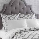 Found it at AllModern - Hollywood Duvet Collection-Jonathan Adler room that is my inspiration...pattern on wall, fancy solid headboard, cool pattern for bedding...thinking yellow, apple greenish, or turquoiseish for sheets and using those colors as pops of color that can easily be changed to change the look of the room with all the main parts grey and white.
