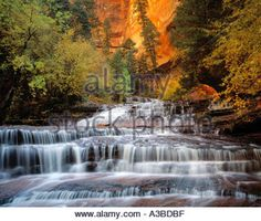 Archangel Cascades North Fork of Virgin River Zion National Park Utah Stock Photo