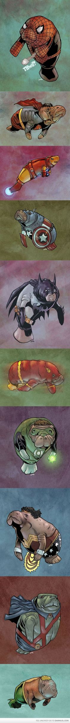 Manatee superheroes! Saving the world with cuteness!   # Pinterest++ for iPad #