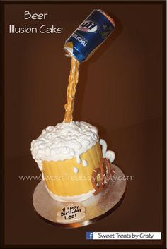 Beer Illusion Cake Birthday Candles 50th Food To Make