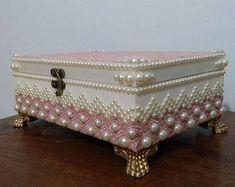 Artesanato em Mdf caixa com perolas rosa