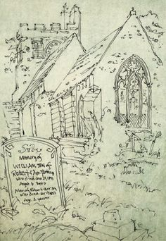 Sketchbook Europe by joel armstrong, via Behance Rundown church in Oxford