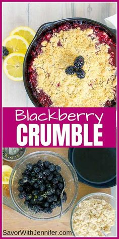 Cast Iron Skillet Blackberry Crumble is bursting with the bubbly deliciousness of perfectly ripe blackberries and lemon zest, all topped with a buttery, crisp crumble. Less then 10 minutes of preparation never tasted so good! This easy homemade recipe is Cast Iron Skillet Cooking, Iron Skillet Recipes, Cast Iron Recipes, Skillet Meals, Crumble Recipe, Crumble Topping, Easy Desserts, Dessert Recipes, Kraft Recipes