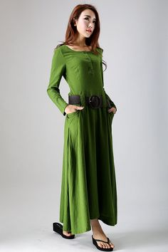 green dress Leaf green dress Linen dress long sleeve by xiaolizi