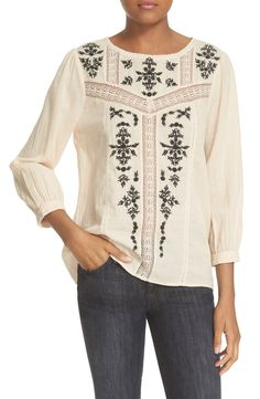 joie embroidered cotton blouse
