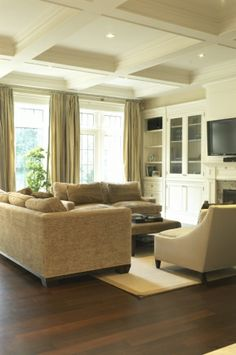 coffered ceilings are so interesting and add an extra layer to a room.