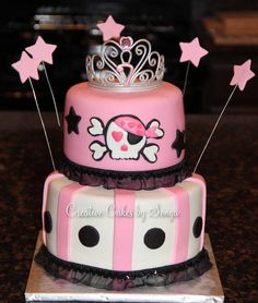 Pirate Princess Birthday cake for a little girl who turned 7. Cake is Red Velvet and filling is Cream Cheese Buttercream. This was my first try at making a Tiara out of gumpaste. I'm pleased with my first try!