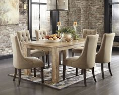 Ashley Distressed reclaimed wood table. Affordable Style